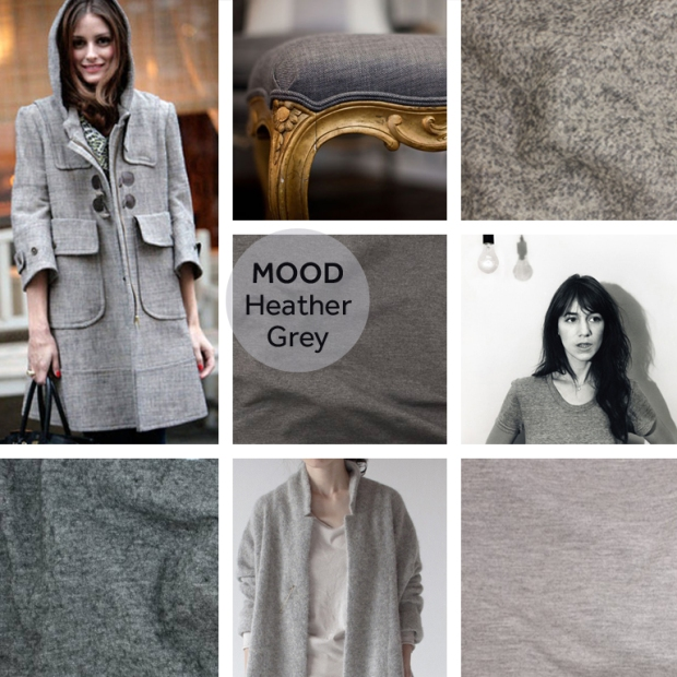 {Row 1} Olivia Palermo in grey jacket; Elle.com, Grey seat Upholstery; A Perfect Gray, TÉLIO's Harry Boucle Style 32517 colour 05. {Row 2} TÉLIO's Bamboo Knit; Style 29480 colour 50, Charlotte Gainsbourg; Indulgy,{Row 3} TÉLIO's Lana Bollito; Style 28514 colour 45, Light Grey Coat; That Kind of Woman,TÉLIO's Tencel II; Style 28160 Colour 22.