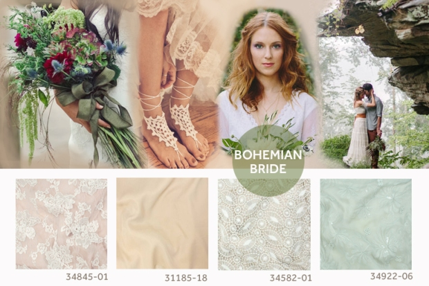 {Row 1} Bouquet; Green Wedding Shoes, Barefoot Sandals; Pinterest, Redhead Holding Bouquet; Green Wedding Shoes, Couple Embracing; Love Is A Big Deal {Row 2} TÉLIO's Gabrielle Lace Style 34845-01, TÉLIO's Tencel Twill Style 31185-18, TÉLIO's Loulou Guipure 34582-01, TÉLIO's Margot Chiffon 34922-06.