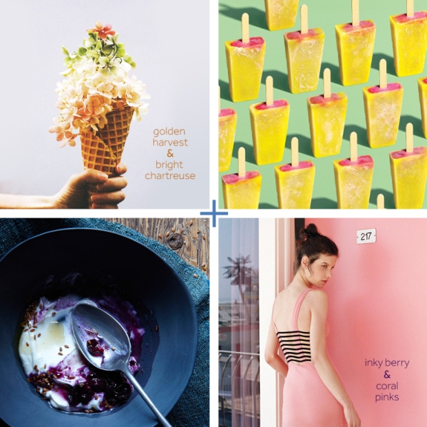 {Row 1} Flower Ice cream cone; Kinfolk Magazine, Raymond Meier Popsicle Print; We Heart It, {Row 2} Pink Skirt Summer Outfit; Exchange the Silence, Berry Plate; Hungry ghost Food and Travel.