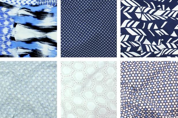 {Row 1} TÉLIO' Picasso Poplin Print Style 34971 Col. 01, TÉLIO's Morocco Blues Style 34247 Col. 01, TÉLIO's Paola Piqué Print Style 35181 Col. 02 {Row 2} TÉLIO's Morocco Blues Style 34970 Col. 01, TÉLIO's Nora Embroidery Style 34390 Col. 01, TÉLIO's Morocco Blues Style 34013 Col. 03.