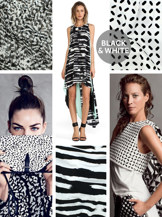 TÉLIO's Lia Lace Print Style 35293 Col. 01, BCBG Maxazria Dress; Revolve Clothing, TÉLIO's Harlequin Print Style 35187 Col. 01, Animal Print bag and shirt; Media Vogue, TÉLIO's Brazil Print Style 35084 Col. 01, Christy Turlington in Edun, The Selby.